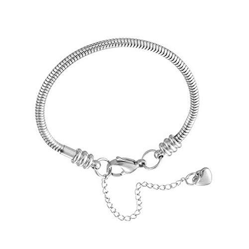 JMQJewelry Snake Chain Bracelet 20cm/7.87in Charm Bracelet with Lobster Clasp for Women Wife Sister (Steel Pandora Bracelet)
