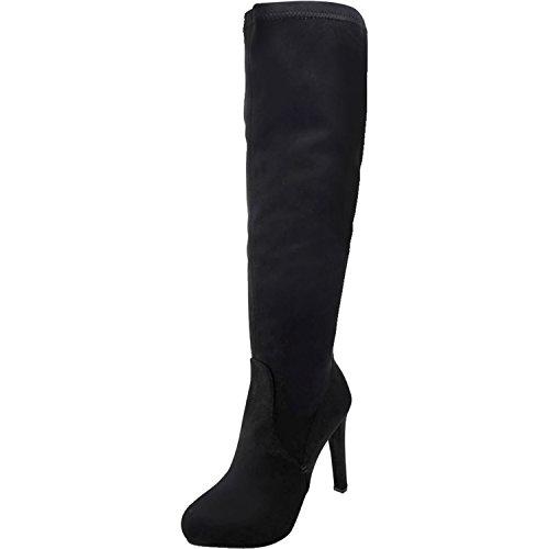 Luxury Divas Knee High Heel Womens Suede-Like Boots Black