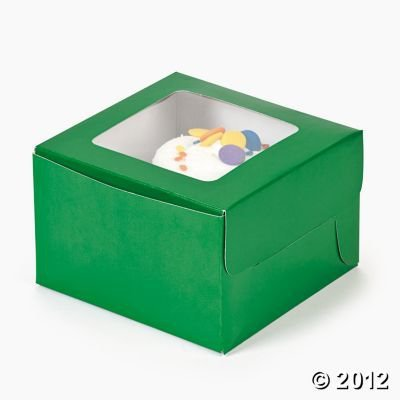 Green Cupcake Boxes with Window and Insert - 12 ct