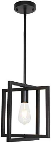 ELUZE One Light MiniPendant Lighting, Modern Chandeliers Black Finish Foyer Light Adjustable Height Dining Room Lighting Fixtures Hanging Living Room Light Kitchen Light