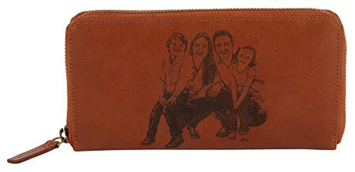 Zipper Custom - Custom Photo Clutch Leather Classic Genuine Leather with RFID Protection