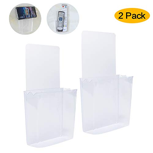ZC GEL Remote Holder Wall Mount Damage-Free, Clear Reusable Universal Media Organizer Storage Box for Mobile Phone, Remote Control ()