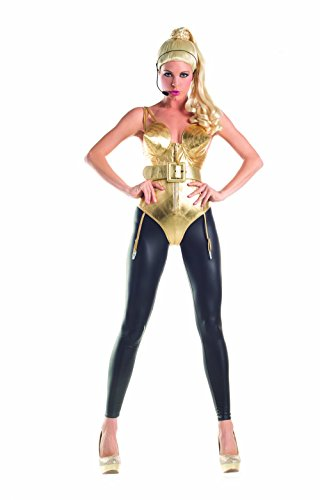 Party King 80s Pop Diva Women's Costume Set, Gold, (80s Diva Adult Costume)