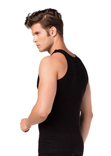4er-Pack Herren Tank-Top Feinripp-Unterhemden Schwarz 100 % reine Baumwolle Achselhemd Unterwäsche Übergröße stylenmore