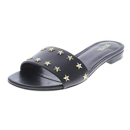 (Michael Michael Kors Womens Mercer Leather Slide Sandals Black 8.5 Medium (B,M))