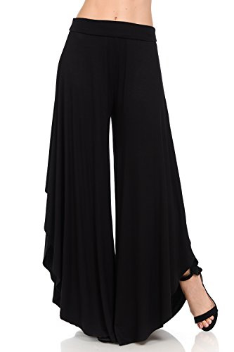 (JDJ CO. Women's Layered Wide Leg Flowy Cropped Palazzo Pants, 3/4 length High Waist Palazzo Wide Legs Capri Pants(3X,Black))