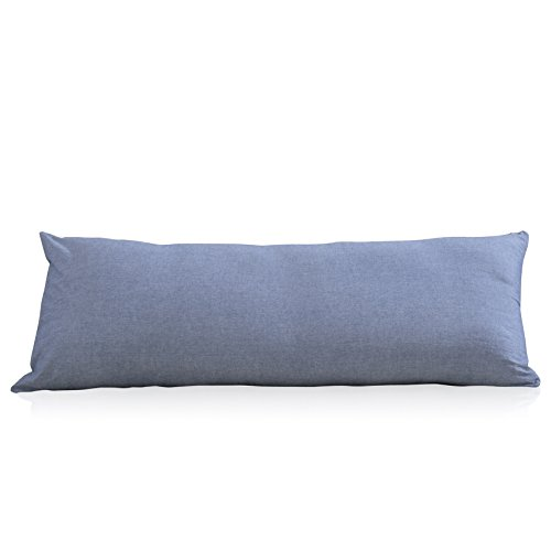 EVOLIVE 100% Cotton Pre-Washed Melange Blue Body Pillow Cover/Case 21'x 54' with Zipper Closure (Blue, 21'x54')