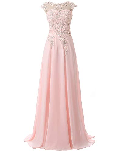 Women's Lace Beaded Long Chiffon Prom Dresses Crew Neck Evening Celebrity Gown Pink
