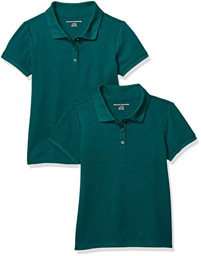 Amazon Essentials Girls' Short-Sleeve Uniform Interlock Polo, 2-Pack Hunter Green, M(8)