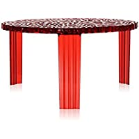 Kartell T-Table - transparent red table H11.02 inch (Original made in Italy)