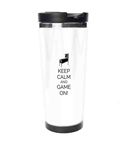 Travel Tumbler - Pinball Machine Arcade Room Concept Keep Calm and Game On Fun Entertainment Stainless Steel coffee mug & cup - Thermal Cup with Splash Proof Sliding Lid - 18oz -  jiushiyigezi-n