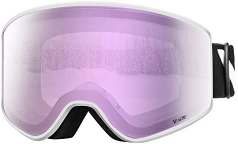 VELAZZIO Ski Goggles, Snowboard Goggles – Double Layer Interchangeable Lens, UV Protection, Anti-Fog, Snow Goggles for Men Women