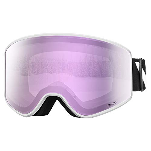 VELAZZIO OTG Ski Goggles, Snowboard Goggles - Double Layer Interchangeable Lens, UV Protection, Anti-Fog, Snow Goggles for Men & Women (White Frame/Pink Lens with Pink Coating (VLT - Ski White Goggles