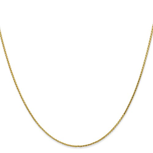 14k Yellow Gold 1.0mm Diamond-Cut Wheat Chain Bracelet Anklet 9'' by Venture Jewelers