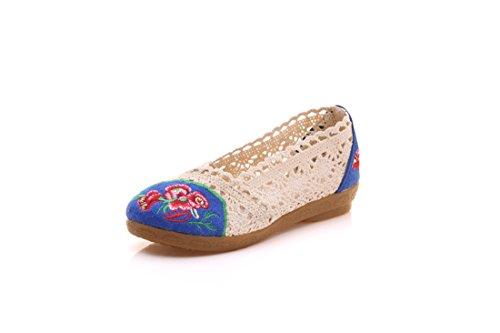 Zapatos de Red de Encaje, Chicas Dulces, Zapatos Bordados, Fondo Suave, Cómodos Zapatos de Tela de Estilo Chino. Beige