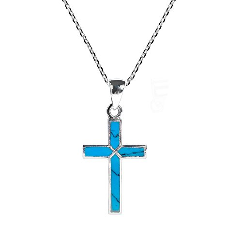 Cross of Faith Simulated Turquoise Inlaid .925 Sterling Silver Pendant (Inlaid Sterling Silver Cross)