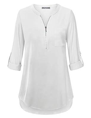 Furnex Women's V Neck Chiffon Blouse Half Zip up Casual Tunic Shirts