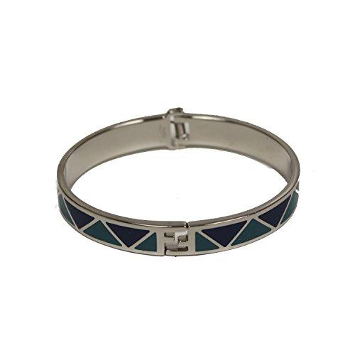 Fendi-FF-Fendista-Blue-Geometric-Pattern-Silver-Palladium-Bangle-Bracelet-8AG132-W7V-F0P8F