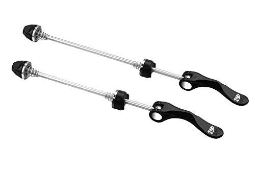 (BeeChamp 1 Pair Stainless Steel Bicycle Wheel Skewers, Road Bike MTB Quick Release Axle Bolt Set (Black))