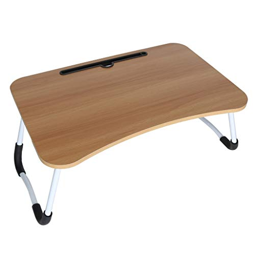 - ASfairy Lap Desk Lap Tray for Kids Adults, Bed Tray, Foldable Breakfast Table, with Ipad Phone Slot, Wood, Beige