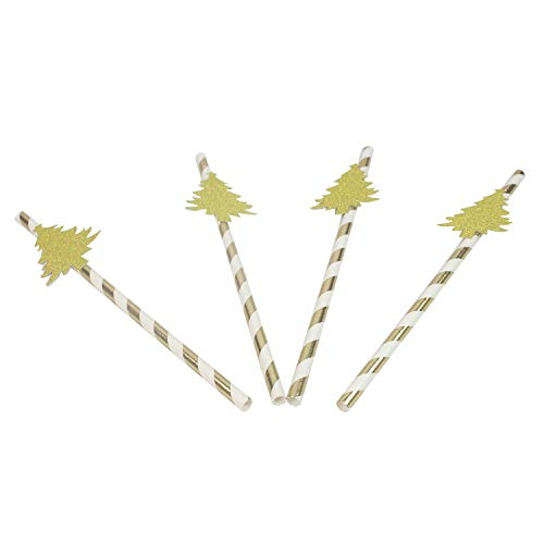 Christmas Tree Gold Striped Paper Sticks - 50PCS Paper Straws for Christmas Decor, Dessert Display Supply for Cakepop, Candy Apples, Baby Shower, Bridal Shower, Holiday Parties -
