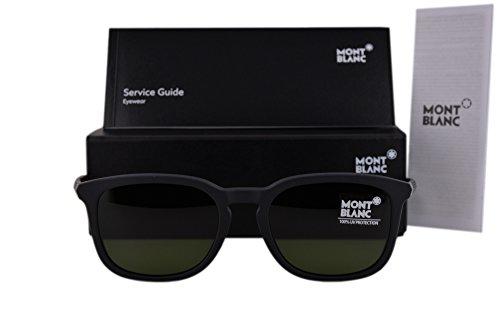 Mont Blanc MB586S Sunglasses Matte Black w/Green Lens 02N MB - Wood Sunglasses Frame Cartier