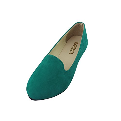 MISSMAO Ladies Womens Casual Flat Slip on Comfort Walking Summer Pumps Imitation Leather Shoes Grass Green FWzSo2pxs9