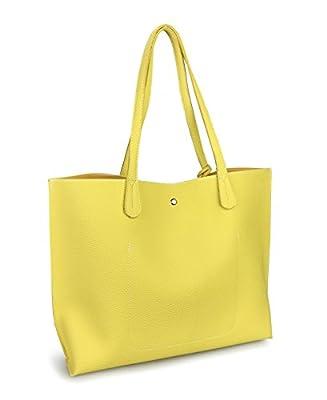 Minimalist Clean Cut Pebbled Faux Leather Tote Womens Shoulder Handbag