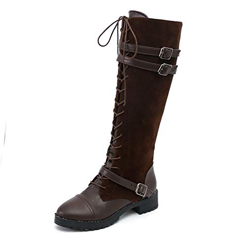 Knee High Cowboy Boots for Women Flock Roman Riding Long Boots Shoes(Brown,US:8.5) from kaifongfu Shoes