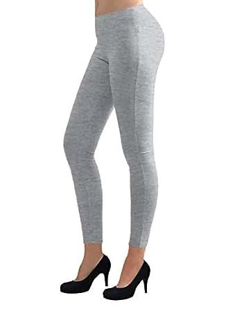 TWINTH Womens Ultra Soft Trendy Solid Plain Tights HEATHERGRAY,XS