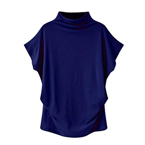 (Plus Size Tops,Women Shirts Turtleneck Short Sleeve Cotton Blouse T Shirt Casual Loose Tunic Tops 2019 Chaofanjiancai Blue)