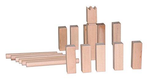 Woodyland Wikingerspiel / Kubb aus massivem Holz. 21 teilig. Praktisch für zu Hause und Unterwegs mit Aufbewahrungsbeutel