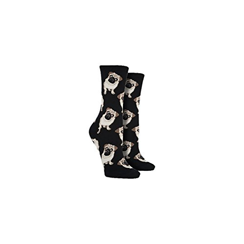 Socksmith Pug Dog Women's Novelty Sock, Black, Size 9-11 (Fits shoe size - Slippers Pug