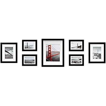 Amazon.com: Gallery Perfect 7 Piece Black Photo Frame Wall Gallery ...