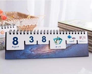 2018-2019 Creative-Sternenhimmel Elk Desktop-Papier Kalender Dual Täglich Scheduler Tabelle Planner Jahr Agenda Organizer (Color : White)