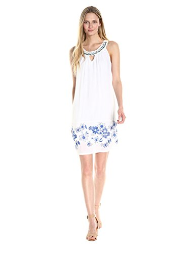 ROBBIE BEE Women's Embriodered Gauze Shift Dress with Beaded Neckline, White Royal, 12