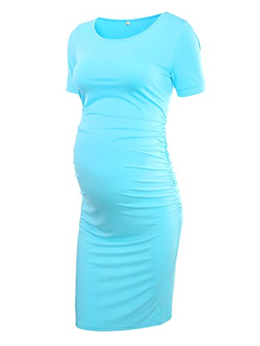 Women's Ruched Maternity Bodycon Dress Mama Causual Short Sleeve Wrap Dresses (4XL, Sky Blue)