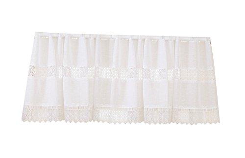 Violet Linen Treasure Macramé Lace Design Sheer Window Valance, 60