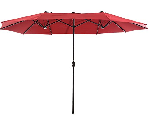 Superjare Outdoor Patio Umbrella with Crank System, Extra-large Double-sided Design, 100% Polyester Fabric - Burgundy (Umbrella Offset Shade Patio Simply)