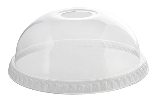 Fineline Super Sips 31115DLH 115mm PET Dome Lid with Hole, Clear -