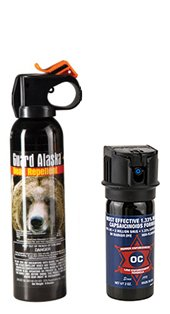 Guard Alaska 9 oz. Bear Spray Repellent & Pepper Enforcement 2 oz. Max Strength 10% OC Pepper Spray w/UV Marker Dye 1 CANNOT BE SHIPPED TO: MICHIGAN, NEW YORK, NEW JERSEY, SOUTH CAROLINA - Outdoor Protection Pack Includes One Guard Alaska 9 oz. Bear Repellant Spray & One Pepper Enforcement 2 oz. Max Strength 10% OC, 1.33% Capsaicinoid Police-Grade Pepper Spray Only bear repellent registered with the EPA as a repellent for ALL bears - Environmentally safe - Does not contain flammable or ozone depleting substances Fogger delivery system to quickly engulf bear's face for maximum effectiveness