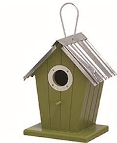 TII Metal/MDF Green Birdhouse, 8.50 Inches
