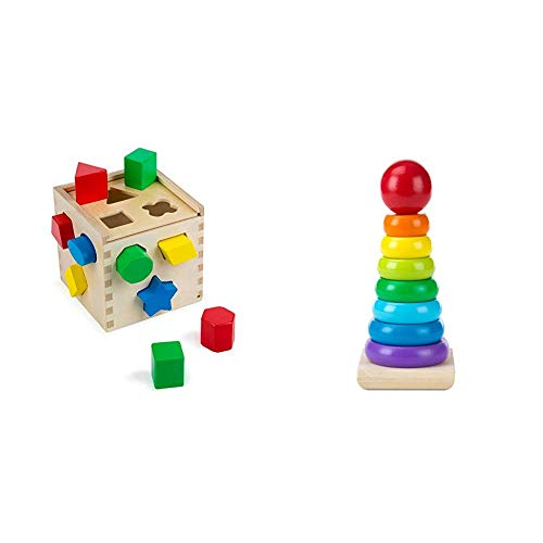 31d9p%2Bw0f0L - Melissa & Doug Shape Sorting Cube Classic Wooden Kids Toy (Best for 2, 3, and 4 Year Olds) & Rainbow Stacker Classic Toy (Best for Babies, 18 Month Olds, 24 Month Olds, 1 and 2 Year Olds)