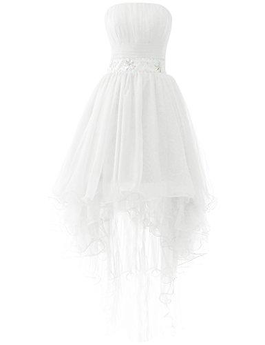 JAEDEN Sin tirantes Tul Trajes de gala Largo Vestido de fiesta Hi-Lo Vestido de noche Blanco