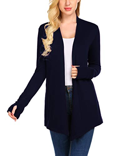 Sweetnight Open Drape Cardigan Sweaters Long Sleeve Sweater Coats Casual Loose Sweater Shirts Outwears with Pockets(Dark Blue, ()