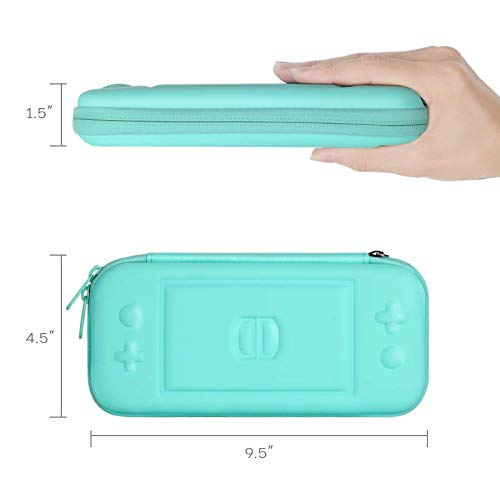 CoBak Carrying Case for Nintendo Switch Lite - with 1 Screen Protector, 1 Grip Case and 4 Thumb Grip Caps, Ultra Slim Premium EVA Travel Pouch Protective Cover, 8 Game Cartridges, Green