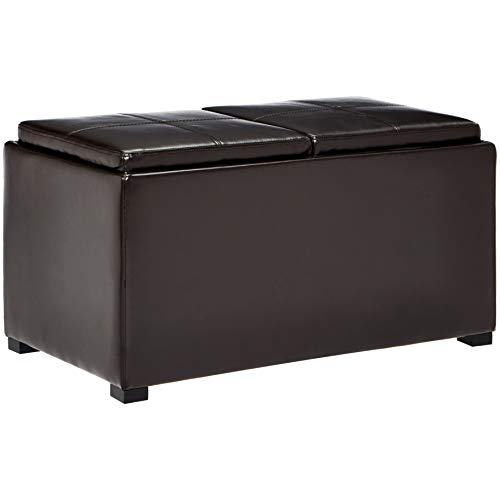 First Hill Junia Faux-Leather Storage Ottoman and 2 Small Ottomans - Espresso Bean Brown (With Tray Ottoman Lid)