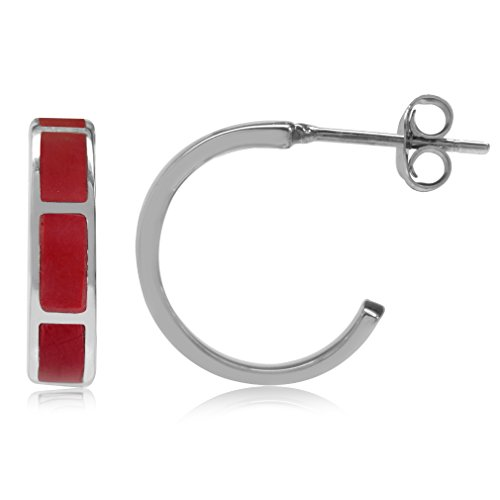 Coral Inlay Earrings - Created Red Coral Inlay White Gold Plated 925 Sterling Silver C-Hoop Earrings