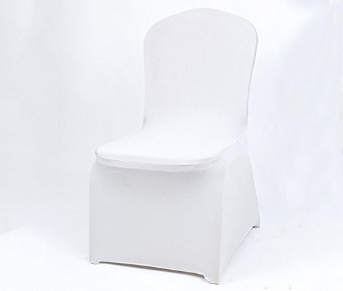 Doptou 1 Pcs Spandex Stretch Pure Color Chair Cover for Wedding Party Machine Washable Dining Room Chair Slipcover (White)