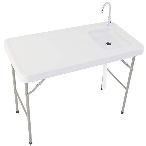 FORUP Portable Folding Table Fish Fillet Hunting Cleaning Cutting Camping Picnic Outdoor Gardening Table with Sink Faucet (White)